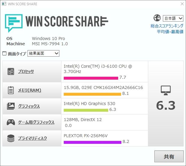 「Core i3 6100」のベンチマーク結果!かなりの高性能